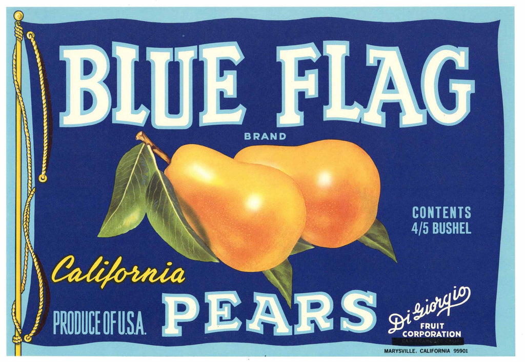 Blue Flag Brand Vintage Marysville Pear Crate Label