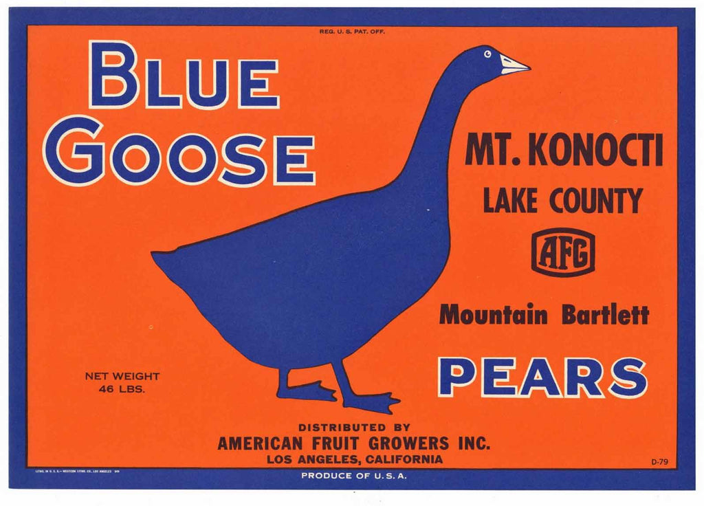Blue Goose Brand Vintage Lake County California Pear Crate Label, Mt. Konocti