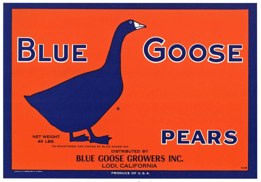 Blue Goose Brand Vintage Lodi Pear Crate Label