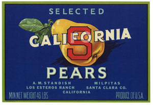 California S Brand Vintage Santa Clara County Pear Crate Label