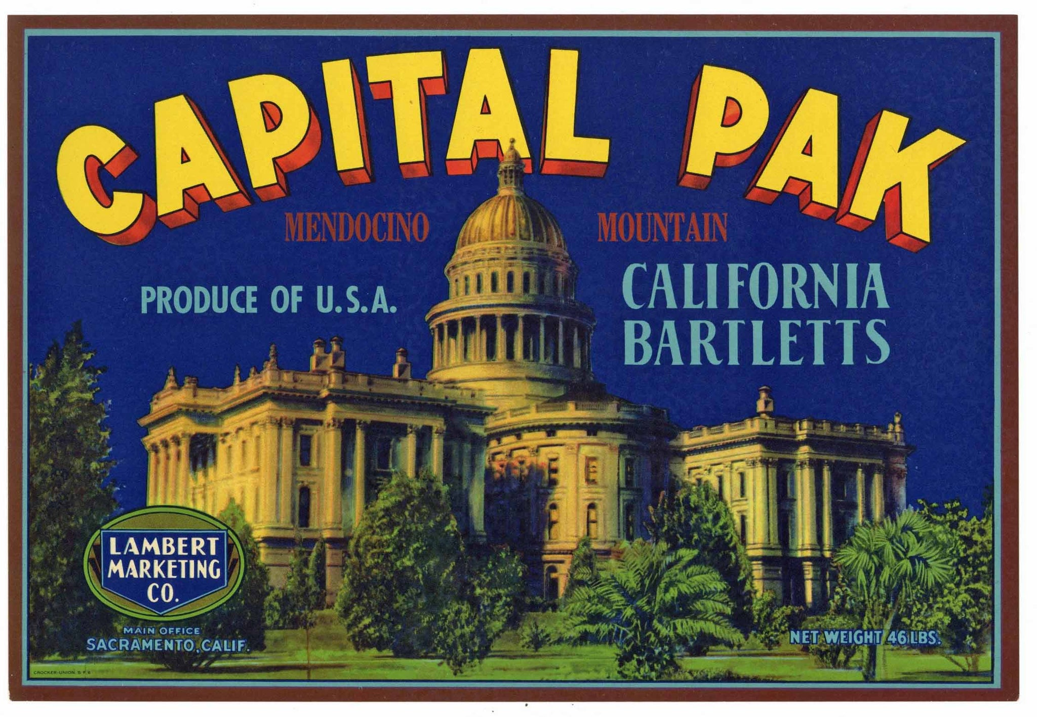 Capital Pak Brand Vintage Sacramento Pear Crate Label, Mendocino Mountain