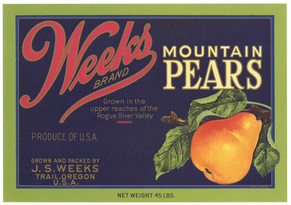 Weeks Brand Vintage Trail Oregon Pear Crate Label