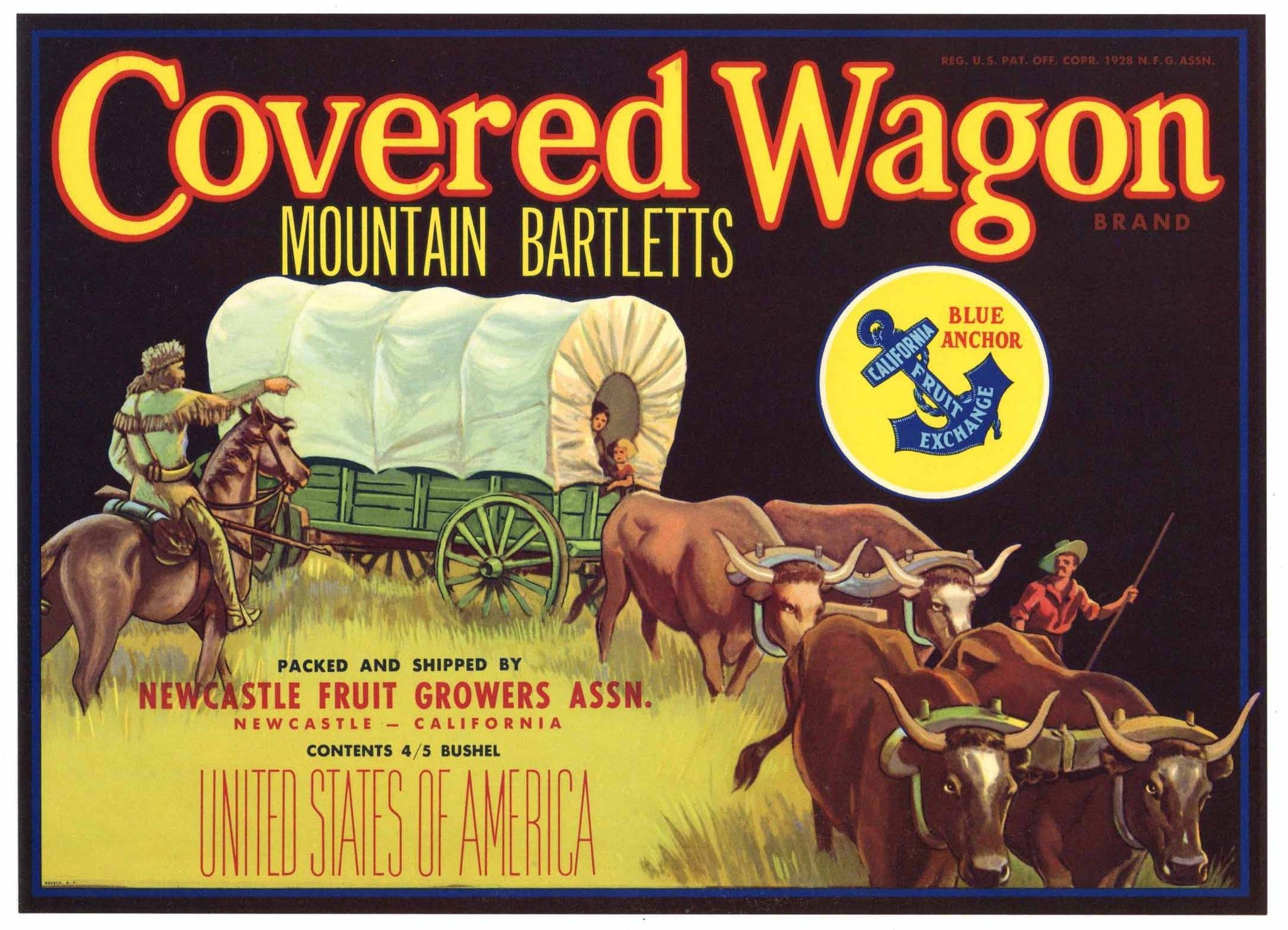 Covered Wagon Brand Vintage Newcastle California Pear Crate Label, 4/5