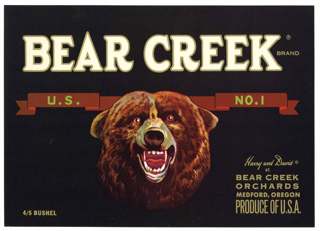 Bear Creek Brand Vintage Medford Oregon Pear Crate Label, U.S. No. 1