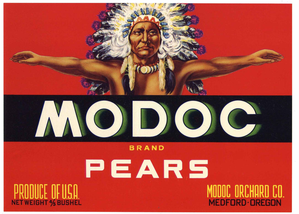 Modoc Brand Vintage Medford Oregon Pear Crate Label, red