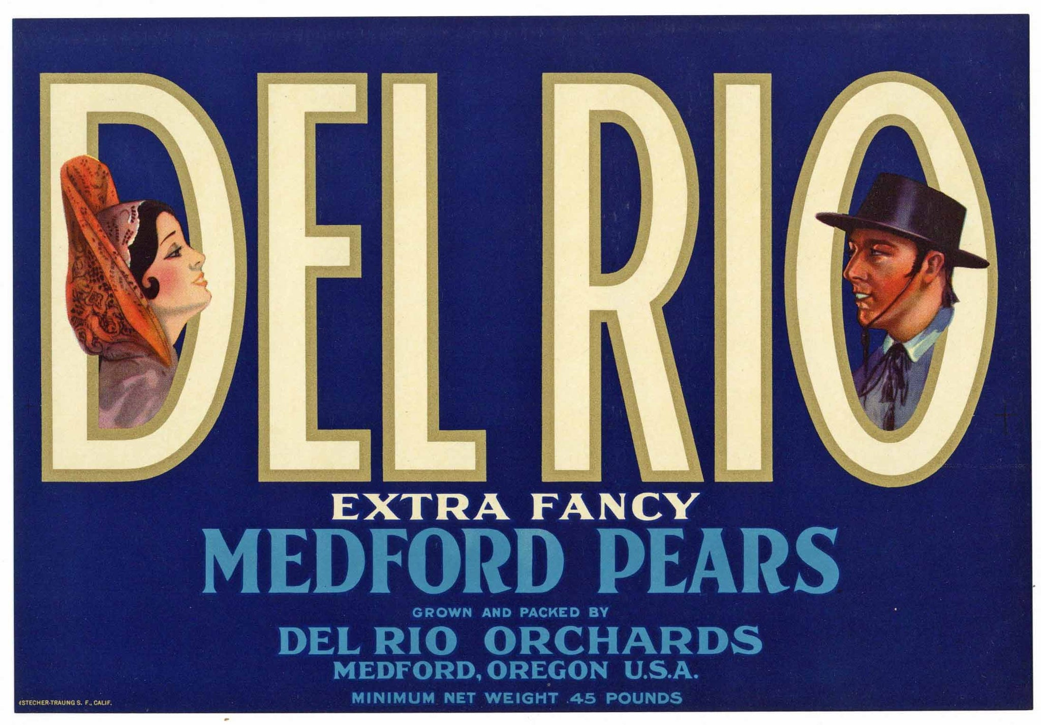 Del Rio Brand Vintage Medford Oregon Pear Crate Label