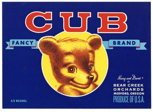Cub Brand Vintage Medford Oregon Pear Crate Label