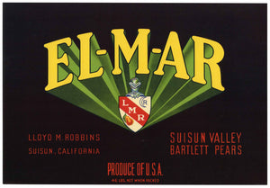 EL-M-AR Brand Vintage Suisun Valley Pear Crate Label