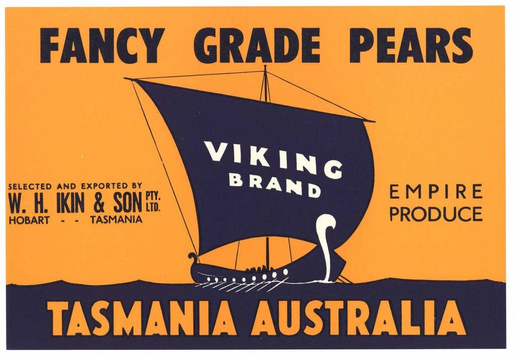 Viking Brand Tasmania Australia Pear Crate Label