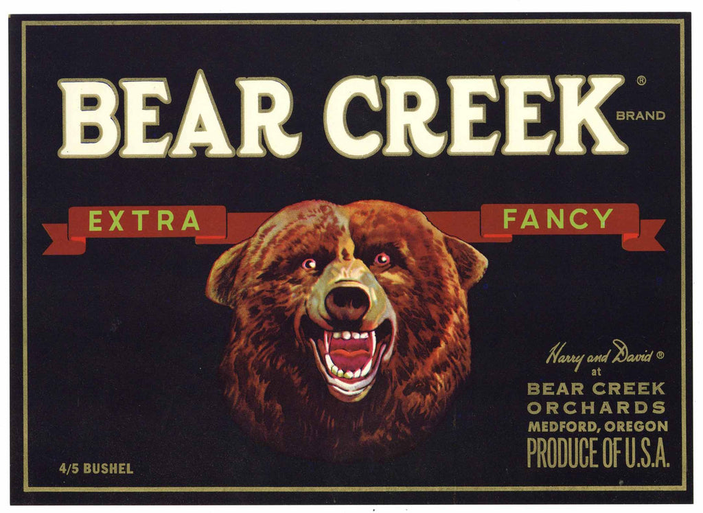 Bear Creek Brand Vintage Medford Oregon Pear Crate Label, Extra Fancy