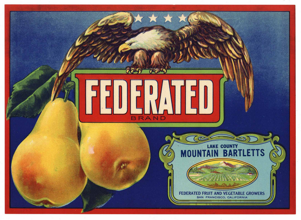Federated Brand Vintage Lake County California Pear Crate Label