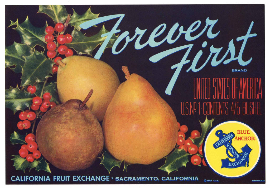 Forever First Brand Vintage Pear Fruit Crate Label