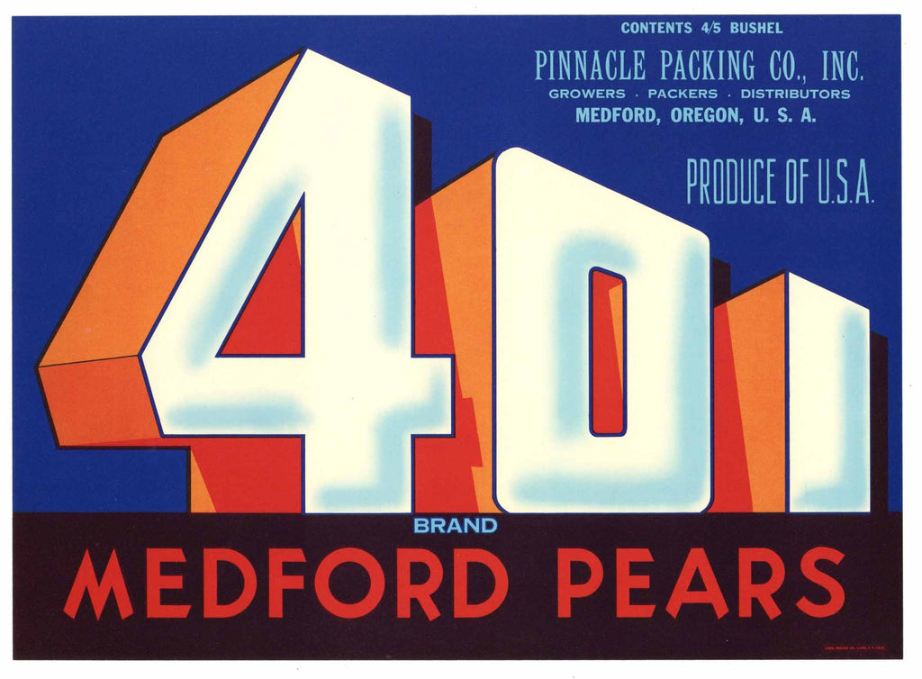 401 Vintage Medford Oregon Pear Crate Label