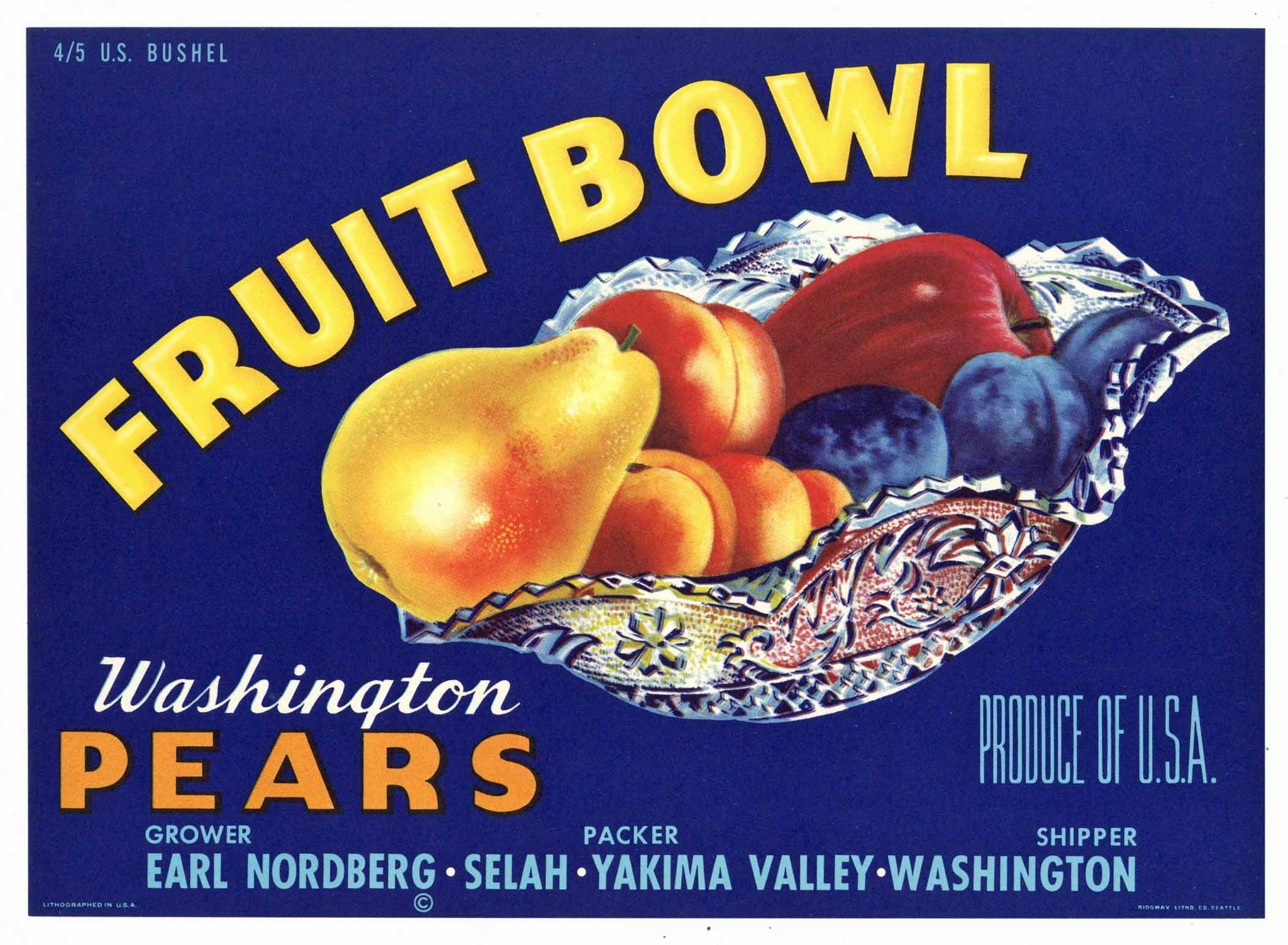 Fruit Bowl Brand Vintage Selah Washington Pear Crate Label