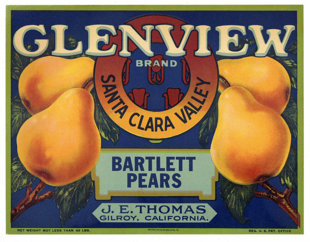 Glenview Brand Vintage Gilroy Pear Crate Label