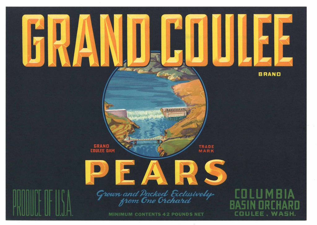 Grand Coulee Brand Vintage Washington Pear Fruit Crate Label
