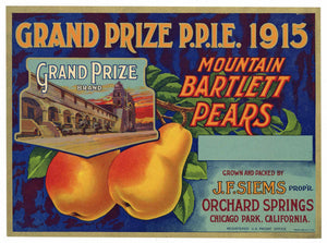 Grand Prize P.P.I.E. 1915 Brand Vintage Placer County Pear Crate Label