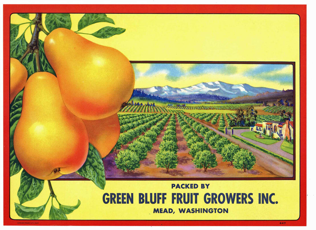 Green Bluff Brand Vintage Mead Washington Pear Crate Label