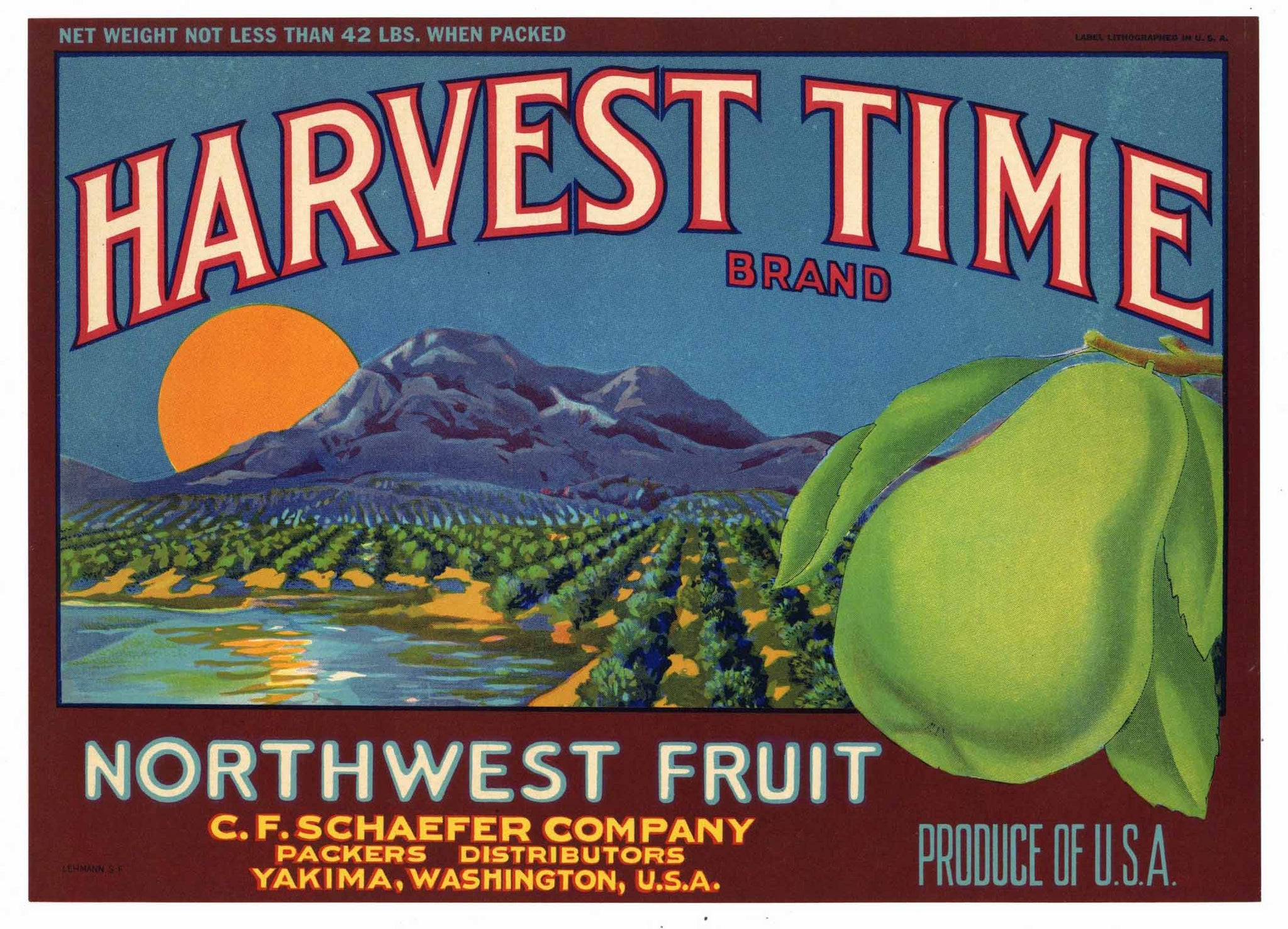 Harvest Time Brand Vintage Yakima Washington Pear Crate Label