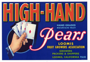 High Hand Brand Vintage Loomis California Pear Crate Label, b