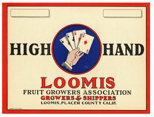 High Hand Brand Vintage Loomis California Pear Crate Label, w
