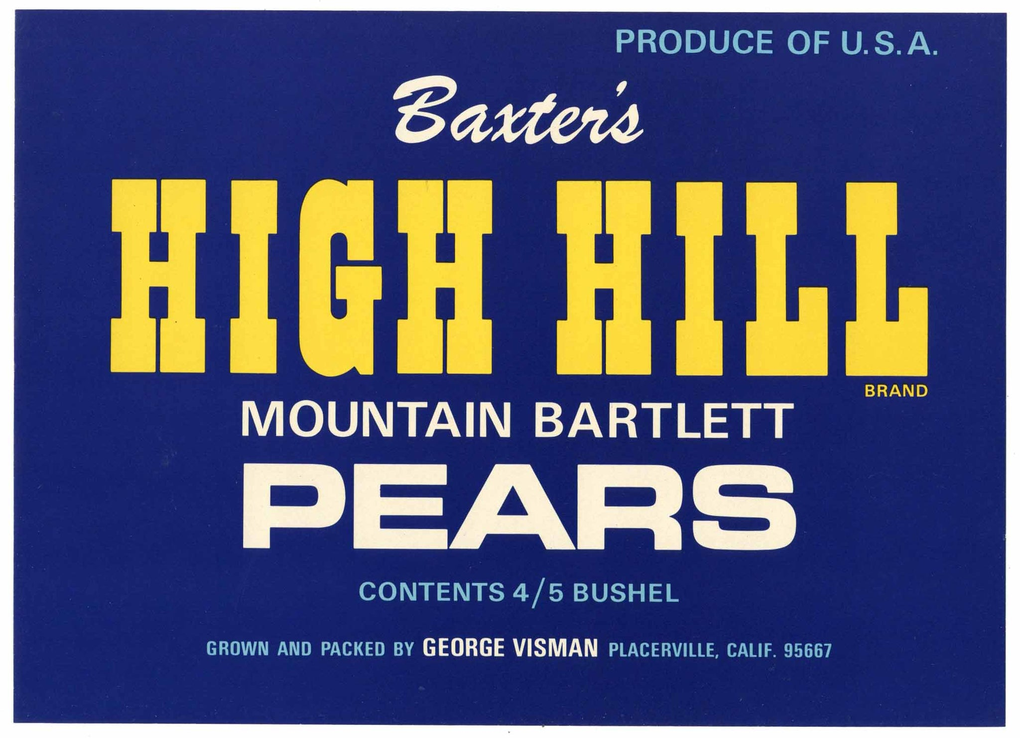 High Hill Brand Vintage Placerville El Dorado County Pear Crate Label