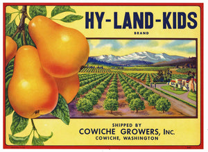 Hy-Land-Kids Brand Vintage Cowiche Washington Pear Crate Label