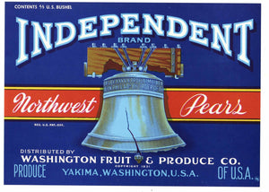 Independent Brand Vintage Yakima Pear Crate Label, Liberty Bell, blue