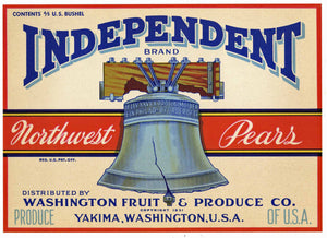 Independent Brand Vintage Yakima Pear Crate Label, Liberty Bell, white