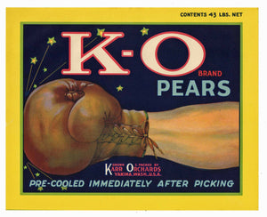 K-O Brand Vintage Yakima Washington Pear Crate Label