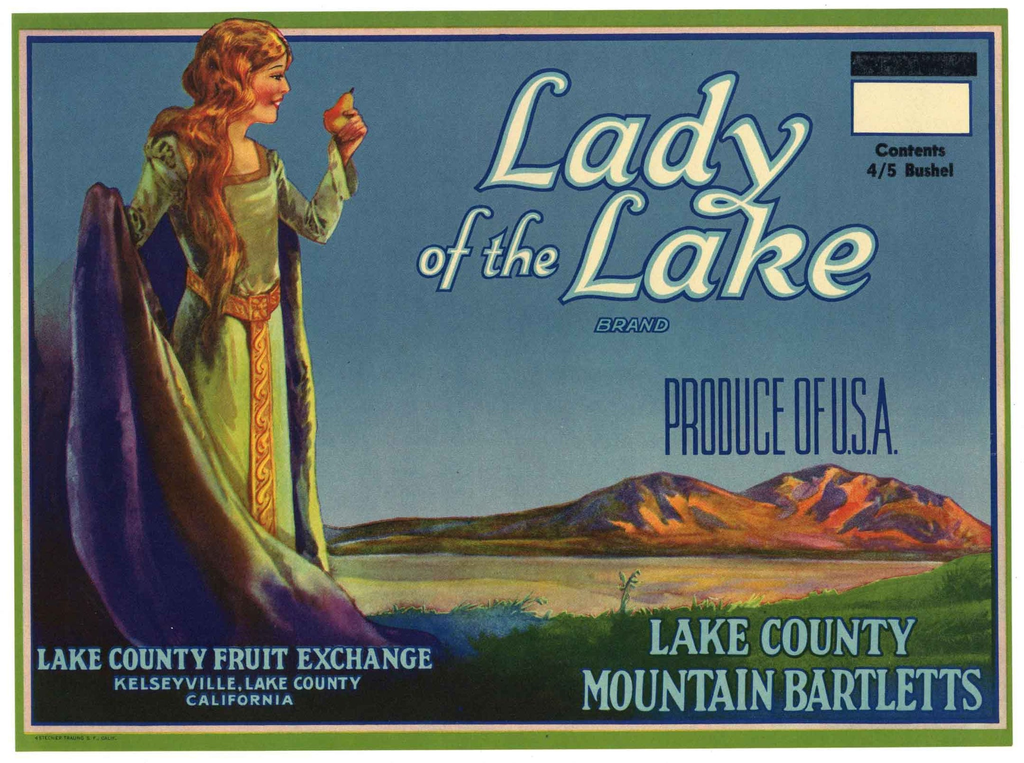 Lady Of The Lake  Brand Vintage Lake County Pear Crate Label, o
