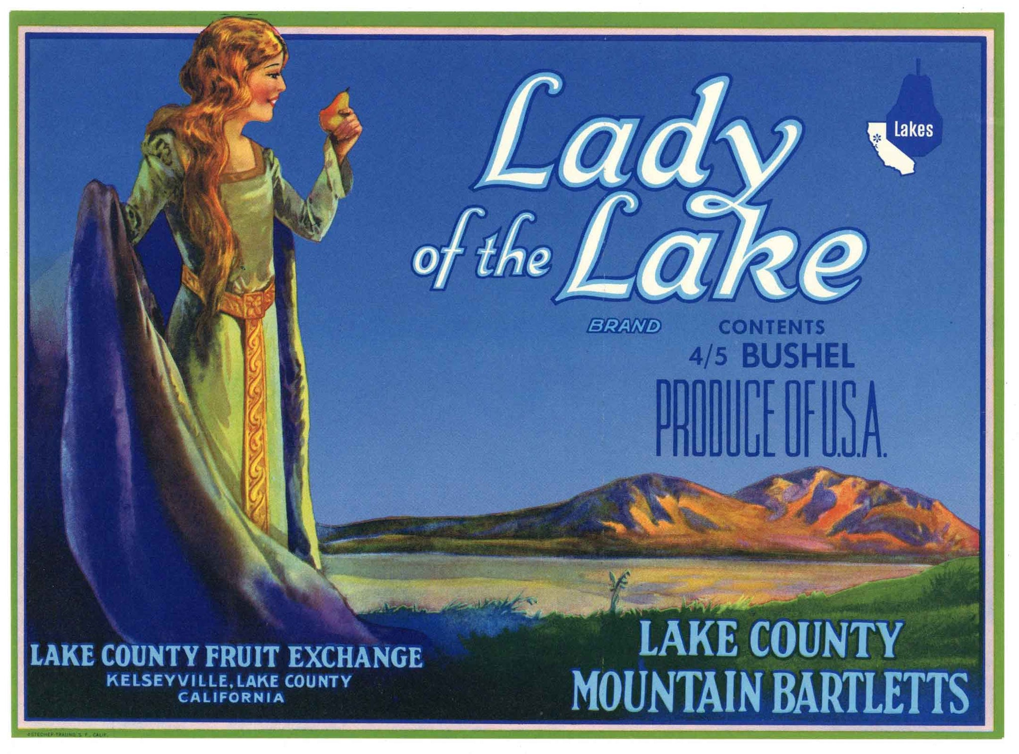 Lady Of The Lake  Brand Vintage Lake County Pear Crate Label, n