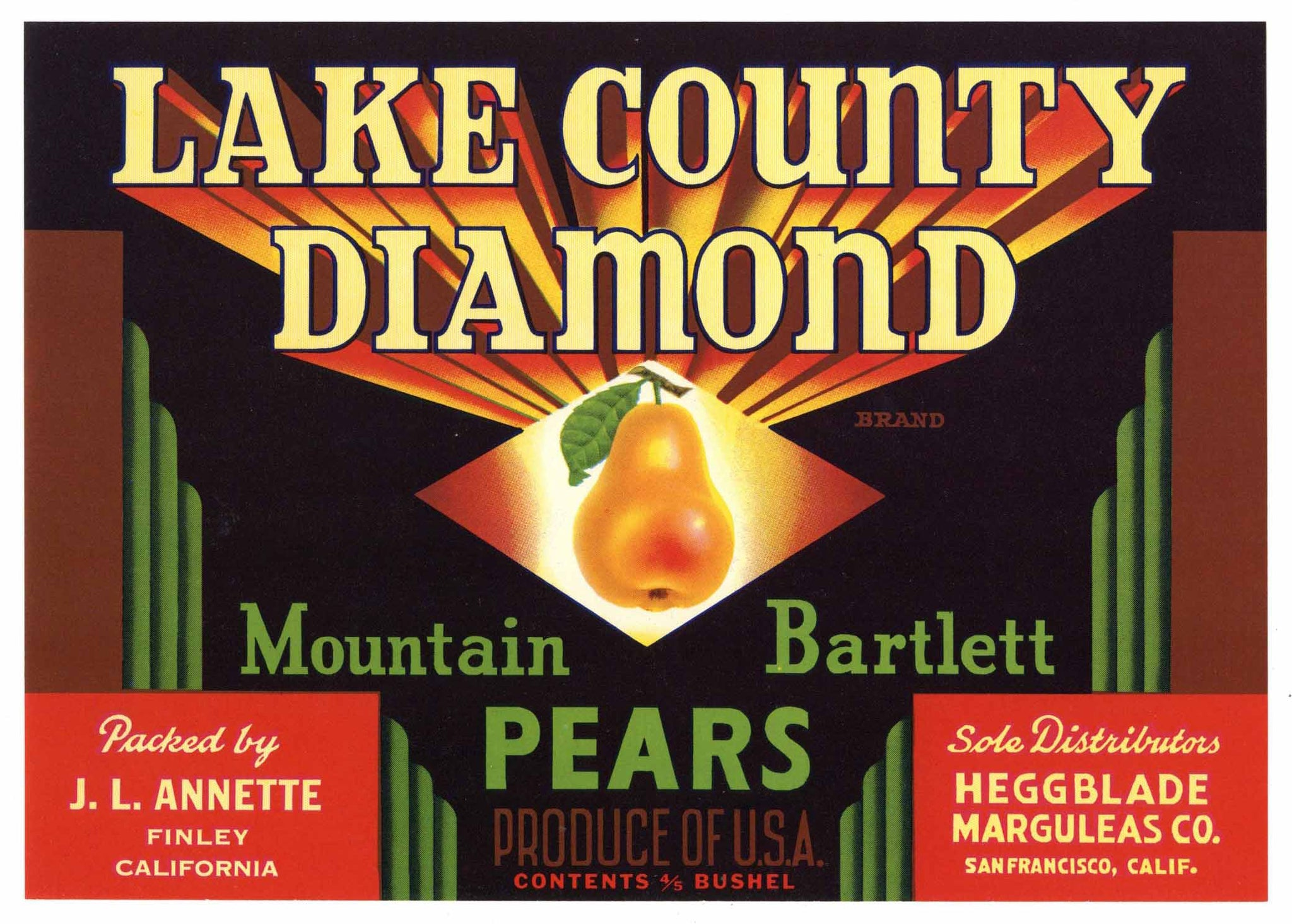 Lake County Diamond Brand Vintage Finley Pear Crate Label