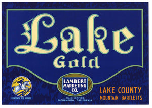 Lake Gold Brand Vintage Lake County Pear Crate Label