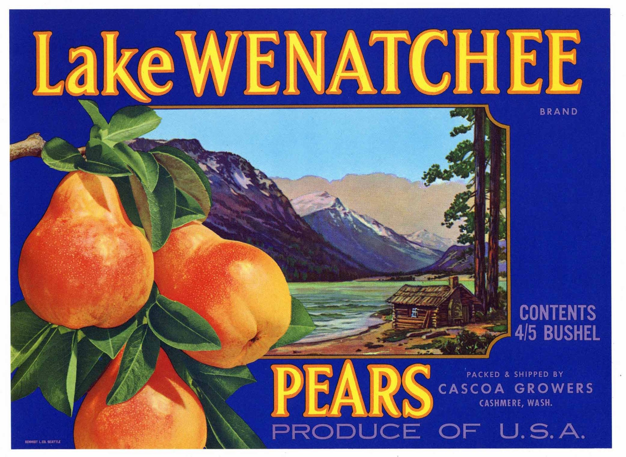 Lake Wenatchee Brand Vintage Cashmere Washington Pear Crate Label, blue