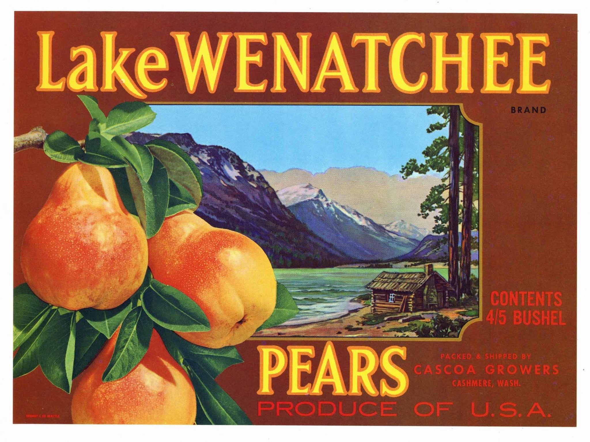 Lake Wenatchee Brand Vintage Cashmere Washington Pear Crate Label, brown