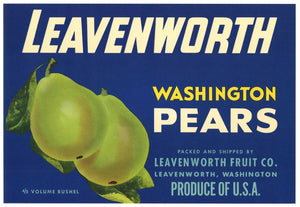 Leavenworth Brand Vintage Washington Pear Crate Label
