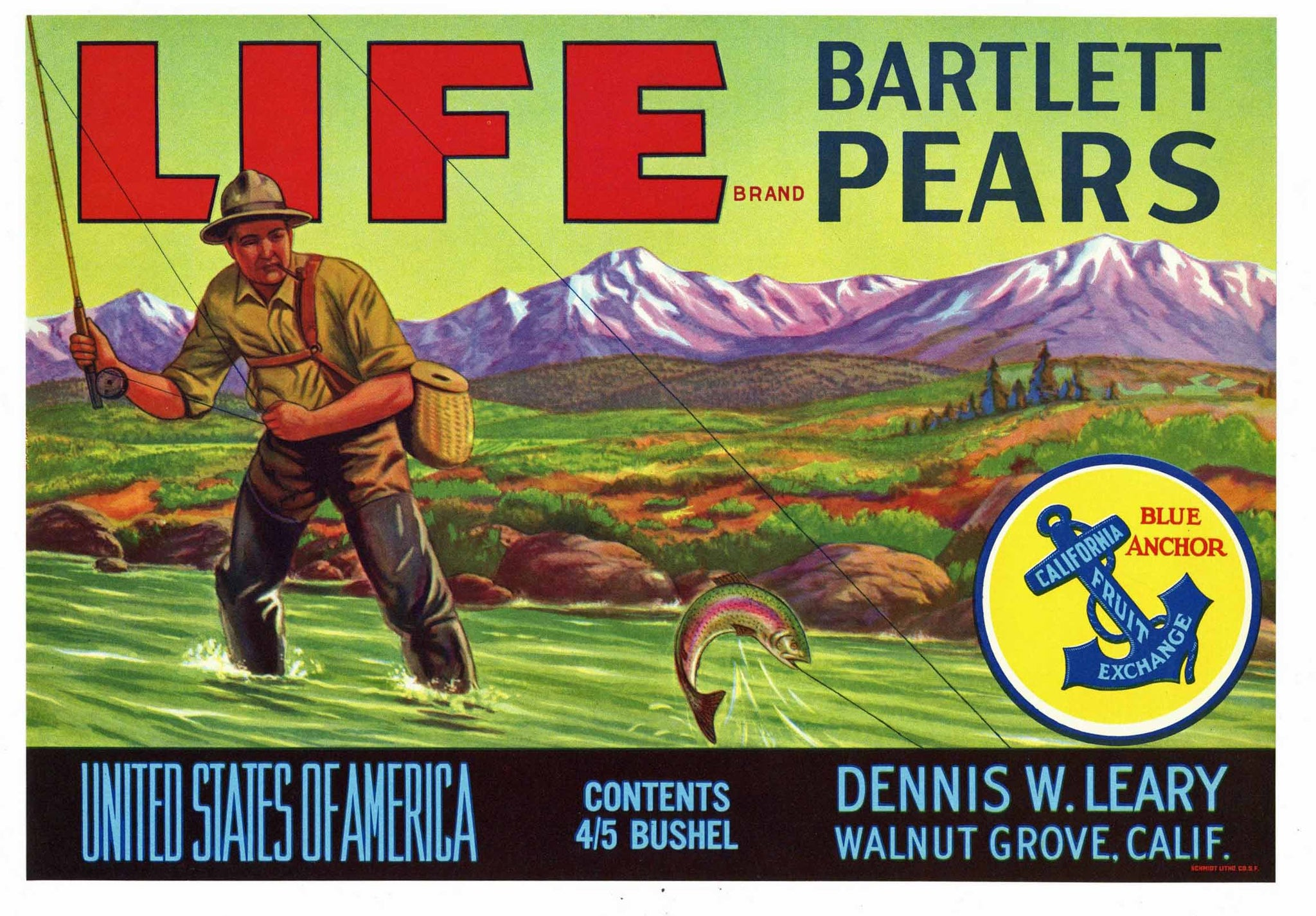 Life Brand Vintage Walnut Grove California Pear Crate Label