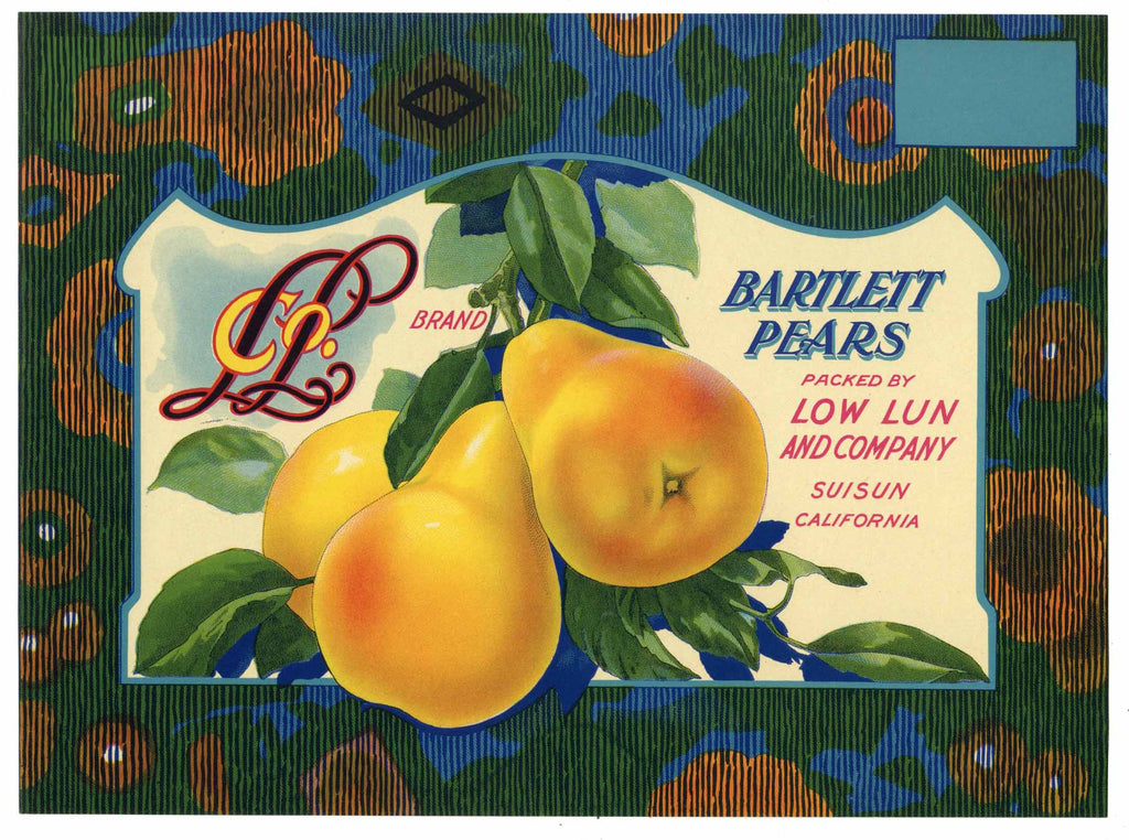 Low Lun Brand Vintage Suisun California Pear Crate Label