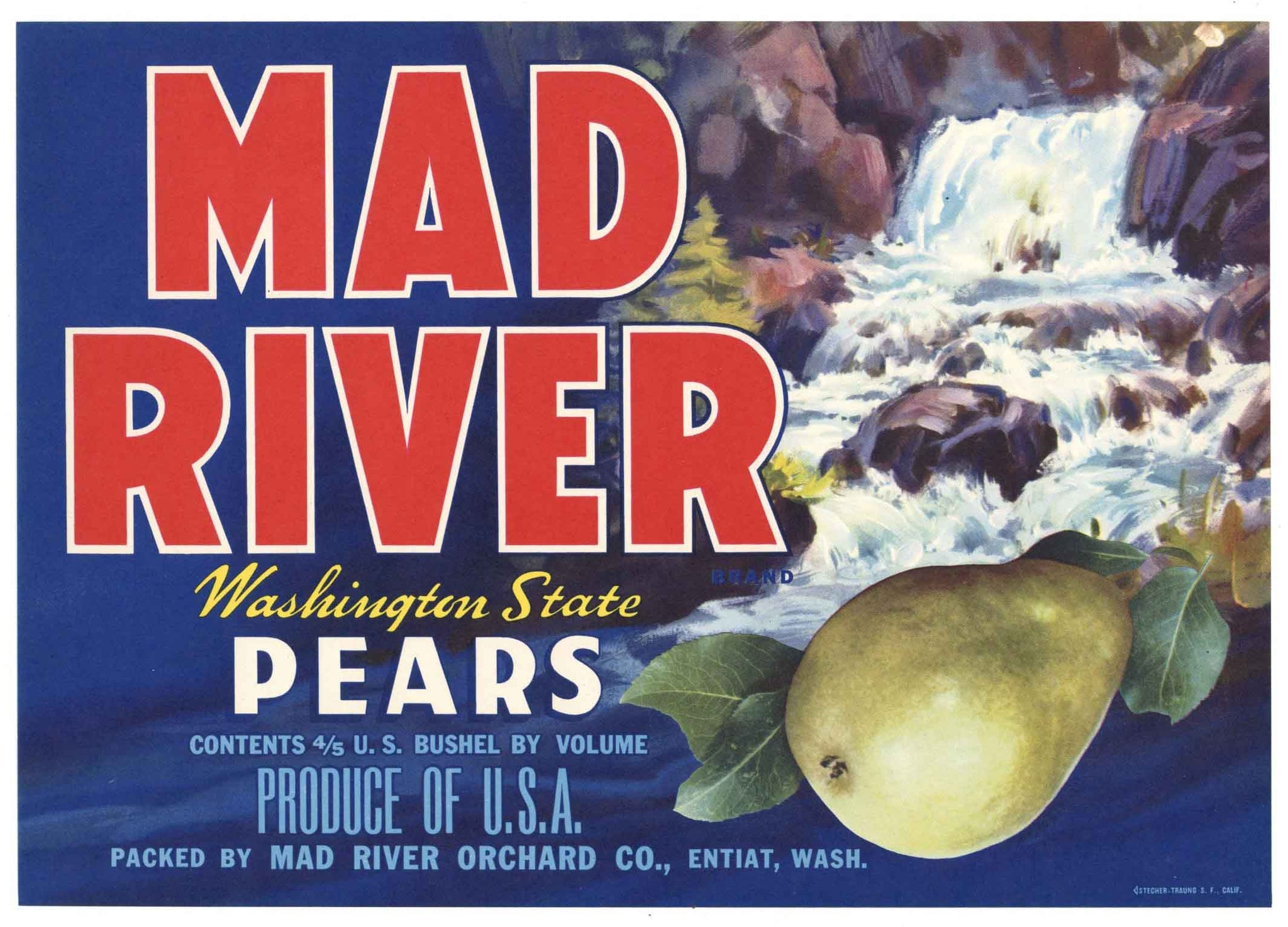 Mad River Brand Vintage Washington Pear Crate Label, b