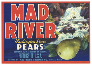 Mad River Brand Vintage Washington Pear Crate Label, r