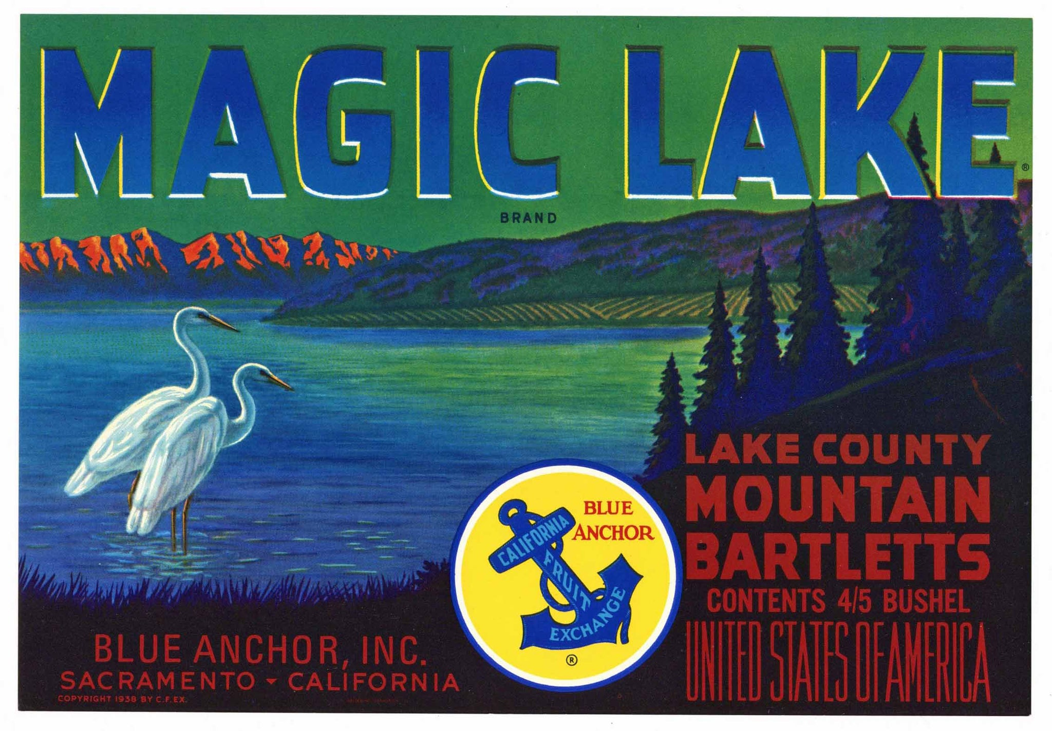 Magic Lake Brand Vintage Lake County California Pear Crate Label