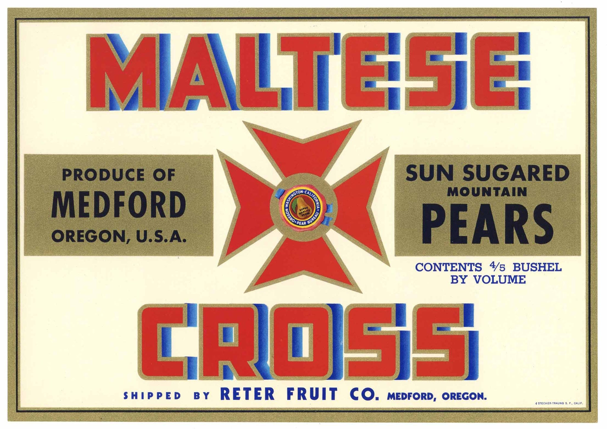 Maltese Cross Brand Vintage Medford Oregon Pear Crate Label, red