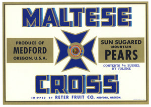 Maltese Cross Brand Vintage Medford Oregon Pear Crate Label, blue