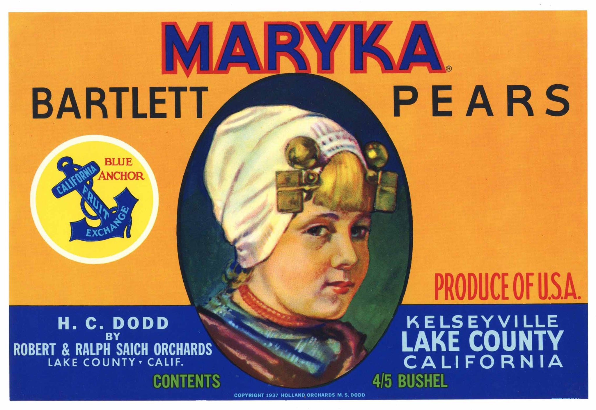 Maryka Brand Vintage Kelseyville Lake County Pear Crate Label