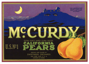 McCurdy Brand Vintage San Jose California Pear Crate Label
