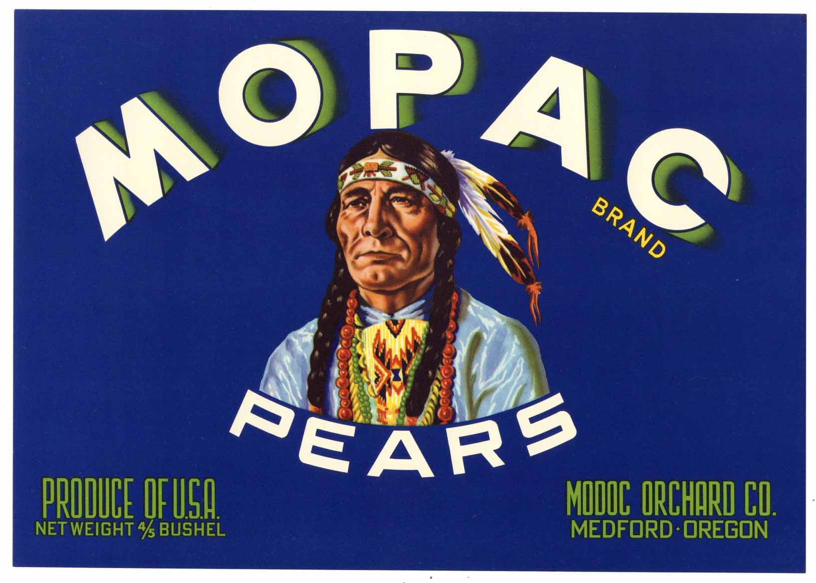 Mopac Brand Vintage Medford Oregon Pear Crate Label