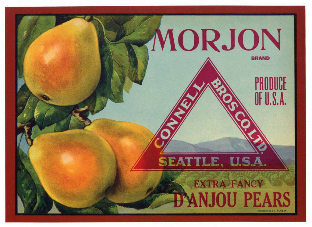 Morjon Brand Vintage Pear Crate Label