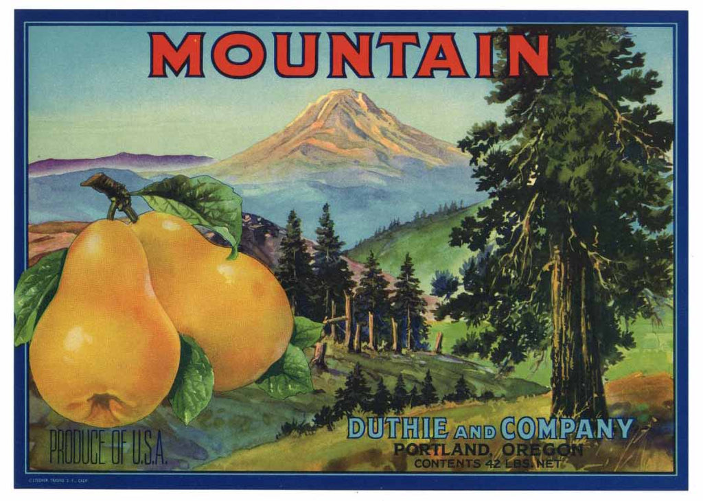 Mountain Brand Vintage Pear Fruit Crate Label