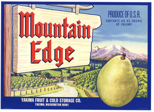 Mountain Edge Brand Vintage Yakima Washington Pear Crate Label